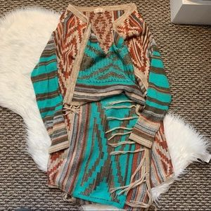 Altar'd State Open Front Cardigan with Tassels